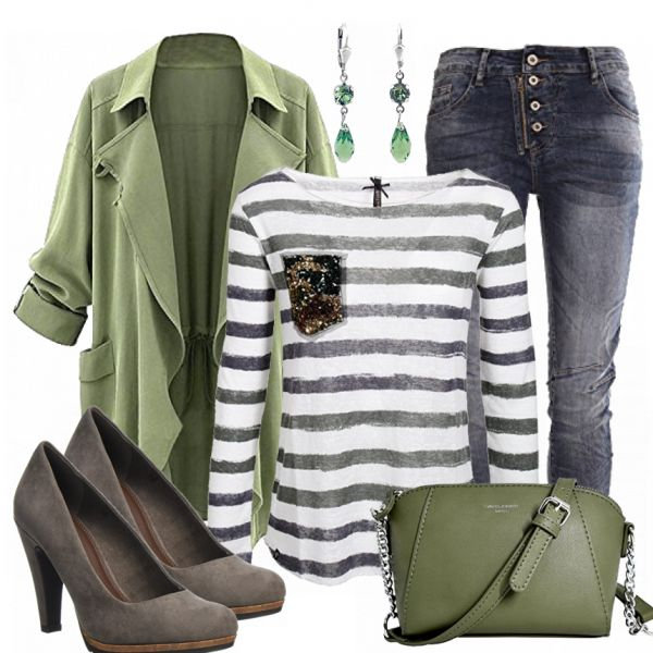 Beautiful spring outfit from striped top, coat and jeans … #fashion #fashionista #mode #women's fashion #dam clothing
