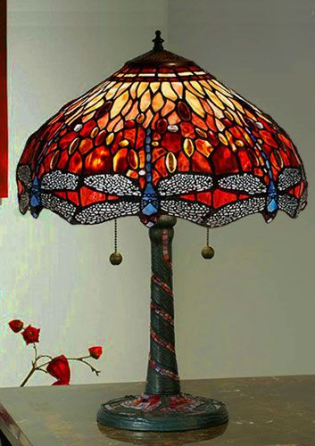 Bordslampa Dragonfly Red Ø 41cm