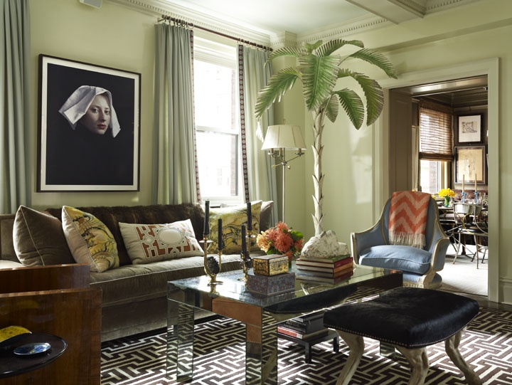 Wonderful Room Of The Day: Living Room Of Robert Passal Interior Design   Fun Palm  Tree, Geometric Rug, Great Colors, Interesting Art 11.25.3013 | Pinterest |  Living ...