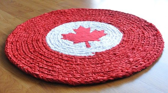 EKRA Canada Flag Crochet Upcycled Area Rug by ekra on Etsy