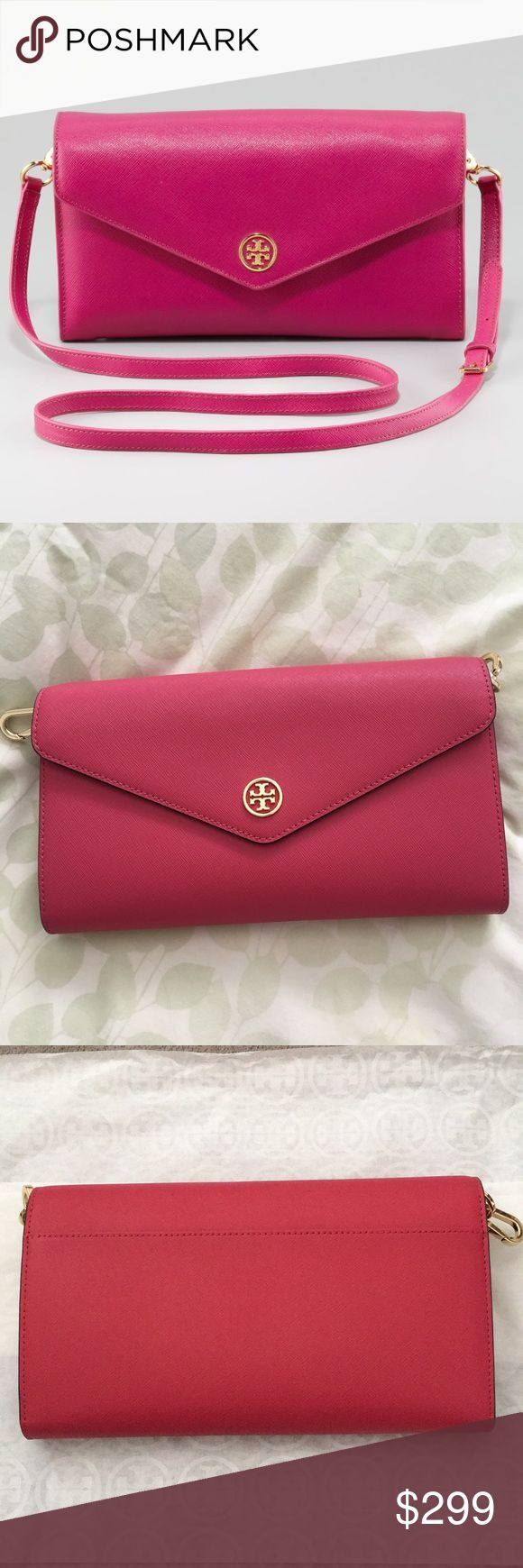 """🆕 Tory Burch Robinson Expandable Concierge Wallet BRAND NEW W/ TAGS. Tory Burch Robinson styled Expandable Concierge Wallet in Dark Peony color (dark hot pink). Makes the perfect shoulder bag, crossbody bag, clutch and/or large Wallet. Envelope snap closure with 2 snap options. Exterior signature TB gold plated hardware and exterior pocket. Removable and adjustable crossbody strap. Approx size of strap: 21"""" - 1/2"""" Drop.  Interior lined in TB signature fabric. 4 open sections, 1 zip pocket…"""