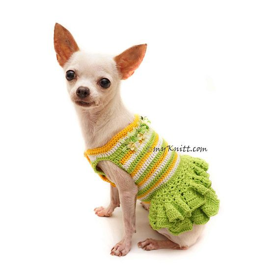 ee042882e068 Green Yellow Dog Dress, Summer Dog Dress, Dog Dress Wedding, Dog ...