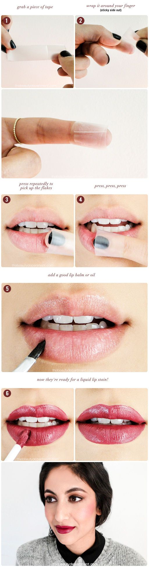 Winter is the season of chapped lips, but you don't have to fall prey! Repin and click to save this handy hack for un-chapping that pucker - perfect for when you want to wear liquid lipstick without your lips looking gross and flaky!