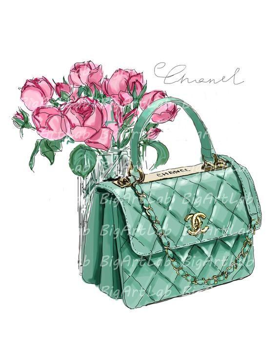 Instant Download Chanel Bag Png Files Clipart Wall Art Fashion Etsy Bag Illustration Chanel Bag Bags