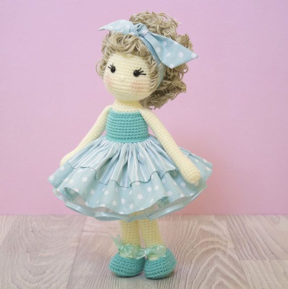 FREE SHIPPING Amigurumi crochet doll - Gorgeous ballerina doll in an aqua striped and polka dot tutu with matching bow