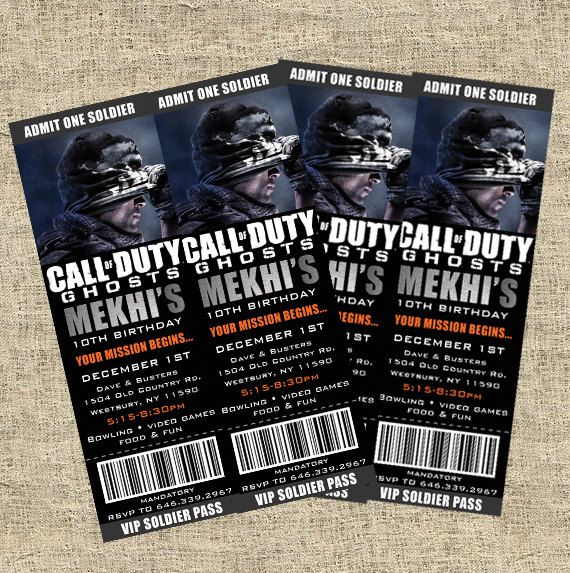 Call of Duty Ticket Ghosts Style Invitations - Custom Photo Printable Design - Cod - Xbox - CALL OF DUTY PARTY