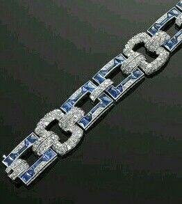 French Cut Calibre Sapphire Diamond Deco Bracelet | Fred Leighton