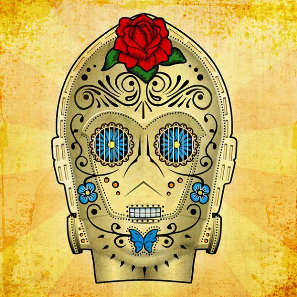 C3PO Sugar Skull http://visualnews.columnfivemedia.netdna-cdn.com/wp-content/uploads/2011/03/Star-Wars-mexican-day-of-the-dead-04-610x610.png