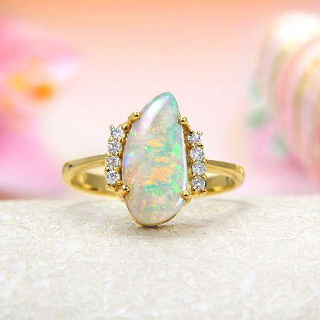 14k Yellow Gold Rainbow Fire Solid Australian Crystal Opal, Diamond Ring