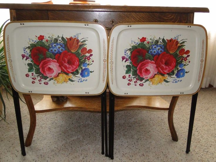 VTG Mid Century 2 Metal TV Trays Tables Rose Tole Painting Floral Crestline  | Mid Century, Tray Tables And Floral