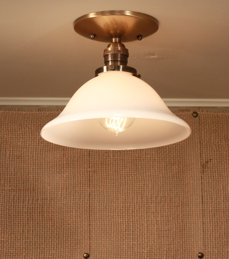 Light Fixture with Vintage Soft White Glass Shade - Semiflush lighting. $122.00, via Etsy.