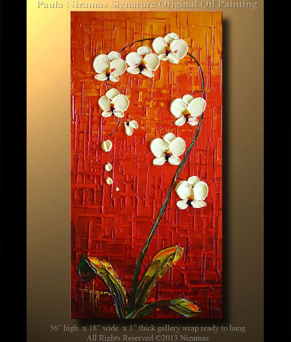 Orchid Original Contemporary Textured Oil Floral by Artcoast