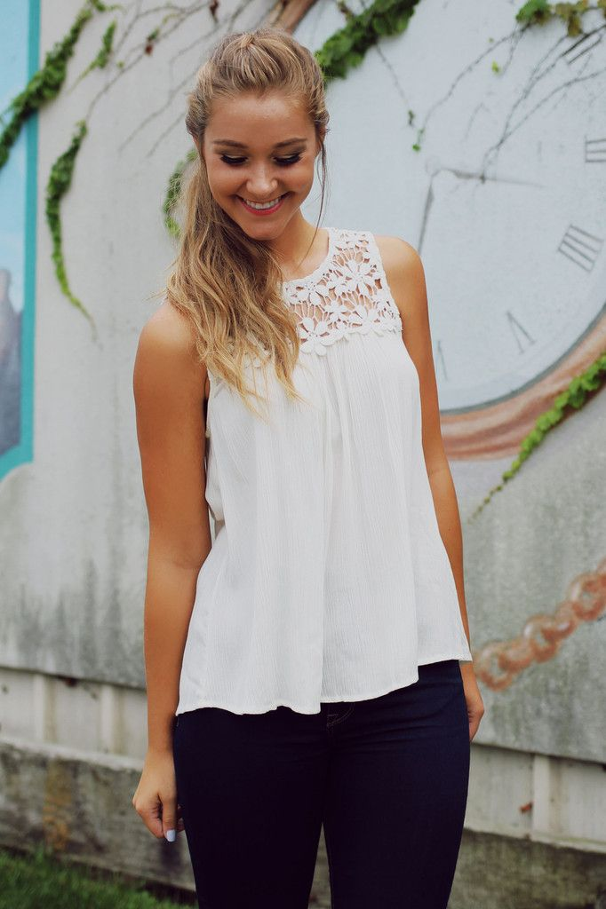White Lacey Pleated Tank – UOIOnline.com: Women's Clothing Boutique