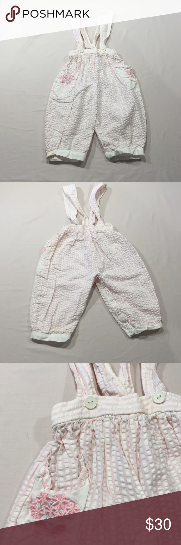 Baby Dior Suspenders Pants Pink & White Size 12 M Excellent pre-loved condition. 100% cotton Size 12 months 19-22 lbs. Dior Bottoms Casual