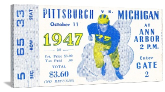 Michigan football tickets! 1947 Canvas Sports Ticket™ made from an authentic '47 Michigan football ticket. Click to read about the game. http://www.shop.47straightposters.com/Michigan-Football-Tickets-1947-47-MICH.htm