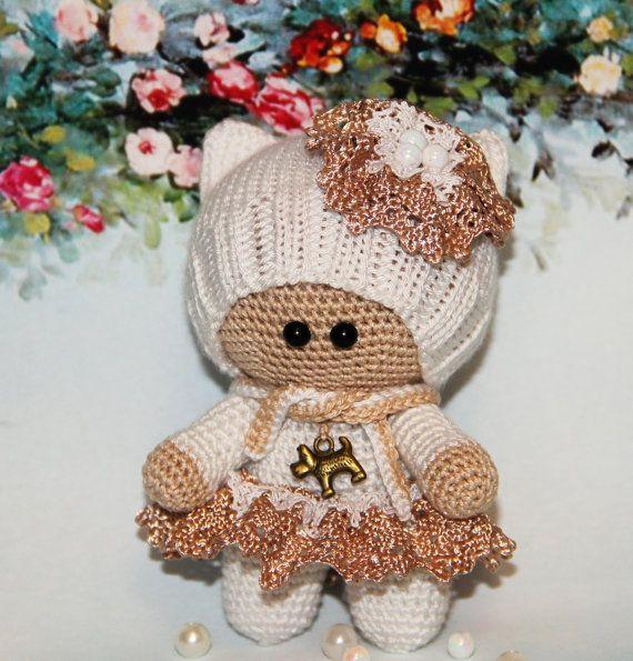 Crochet Doll in white amigurumi doll Plush Doll Toy crochet