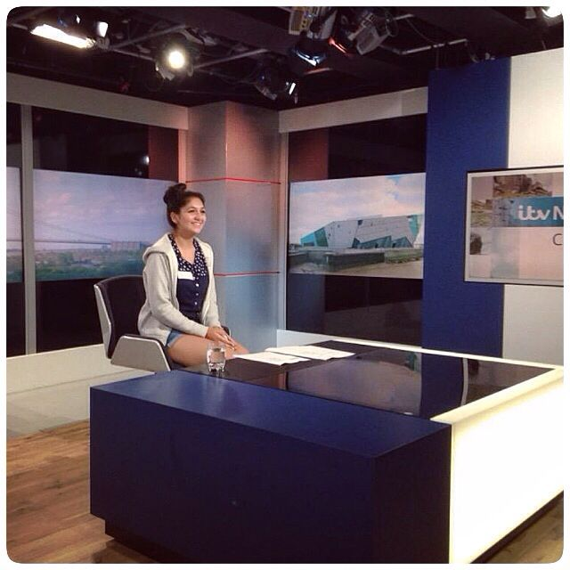 ITV inspire workshop,  checking out the news desk! What an amazing opportunity. Team Leeds.