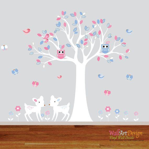 Boy Girl Twin Nursery Wall Decal Tree Pink Blue door wallartdesign
