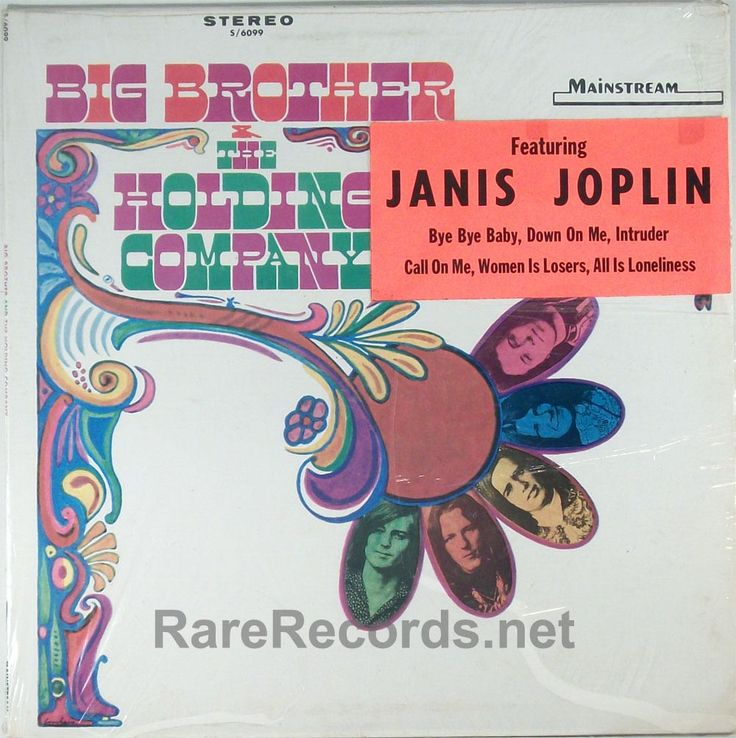 Big Brother & the Holding Company (Mainstream; 1967) The debut album of Janis Joplin, though her name wasn't on the cover.  The record company later added a rare sticker to the shrink wrap to note that she appeared on the album. #vinyl #records #albums #LP  Click here to learn more about this record: http://www.rarerecords.net/store/janis-joplin-big-brother-the-holding-company-1967-lp-with-rare-hype-sticker/