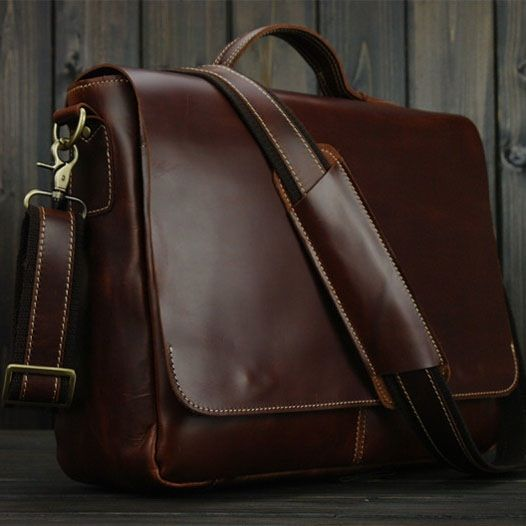 "Image of Handmade Genuine Leather Briefcase Messenger Bag 13"" 14"" 15"" Laptop 13"" 15"" MacBook Bag red wine"