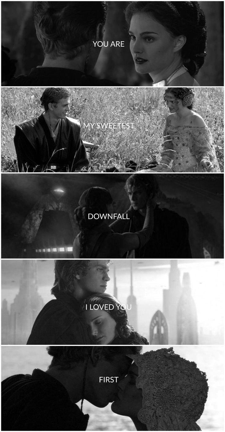 "Fan edit by Pretentious Shirley. Anakin Skywalker and Padme Amidala, Star Wars Prequels, ""Samson"" lyrics by Regina Spektor"