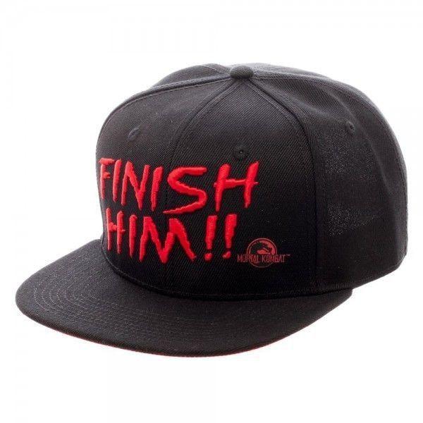 Sega Licensed Mortal Kombat Finish Him Black Snapback Cap Hat Fatality