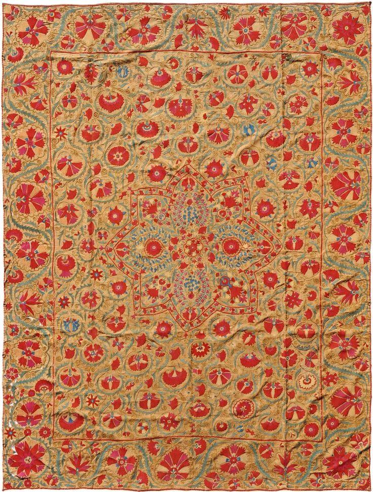 Antique uzbek suzani, silk ebmroidery on cotton, 19th c. Bukhara, Central Asia.