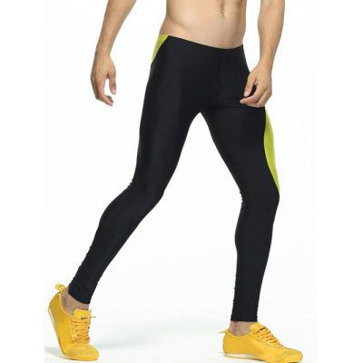 Color Splicing Skinny Elastic Waist Gym Pants #men, #hats, #watches, #belts, #fashion