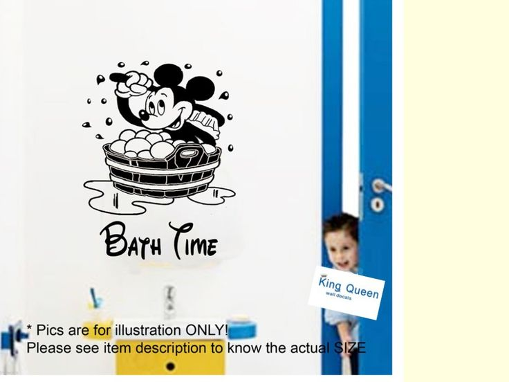 Mickey Mouse Children Bath Time Vinyl Sticker Wall Stickers Home Decor Kids Bathroom Decor Wall Stickers Removable DIY(China (Mainland))