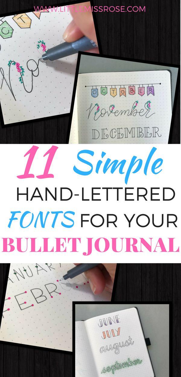 11 Simple Hand-Lettered Fonts For Your Bullet Journal Rose | Bullet Journal Inspiration, Tips & ideas