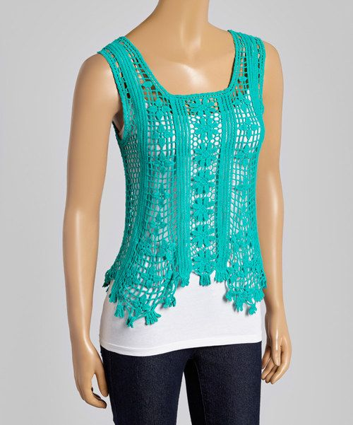 Look at this Janet Paris Turquoise Sunflower Crochet Scoop Neck Tank on #zulily today!