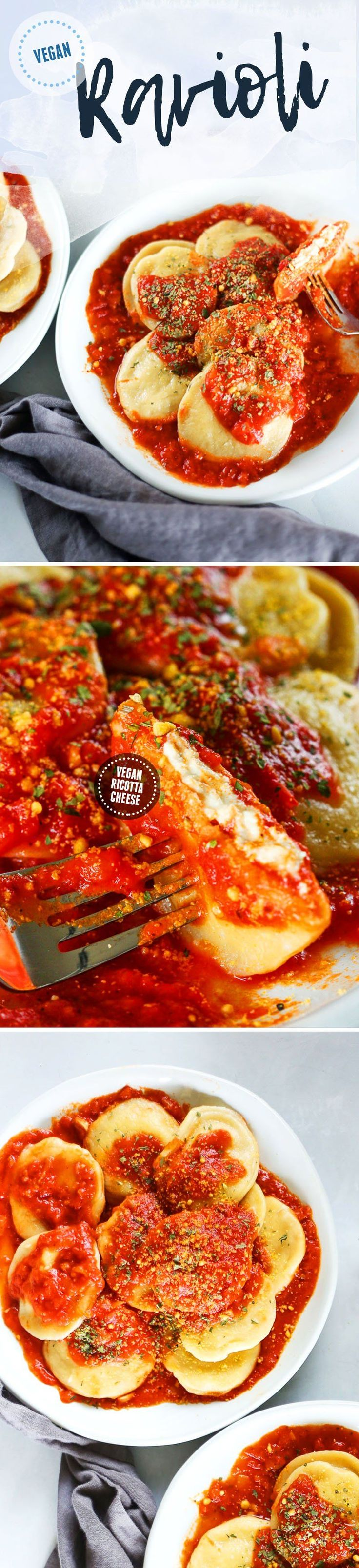 Easy, Simple Homemade VEGAN Ravioli Recipe with Vegan Tofu Almond Ricotta Cheese and Homemade Marinara Tomato Sauce #vegan #ravioli #italian #vegancheese