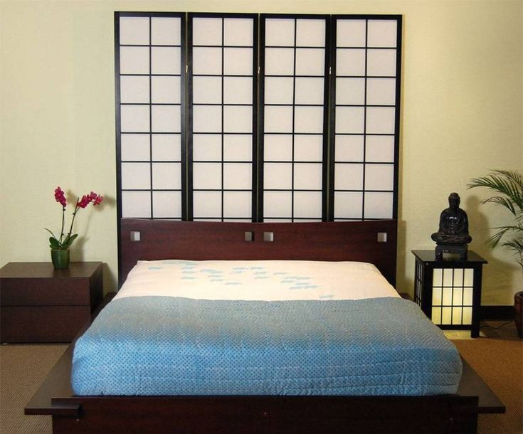 Bedroom Japanese Decor Ideas With Futon And Screen Headboard