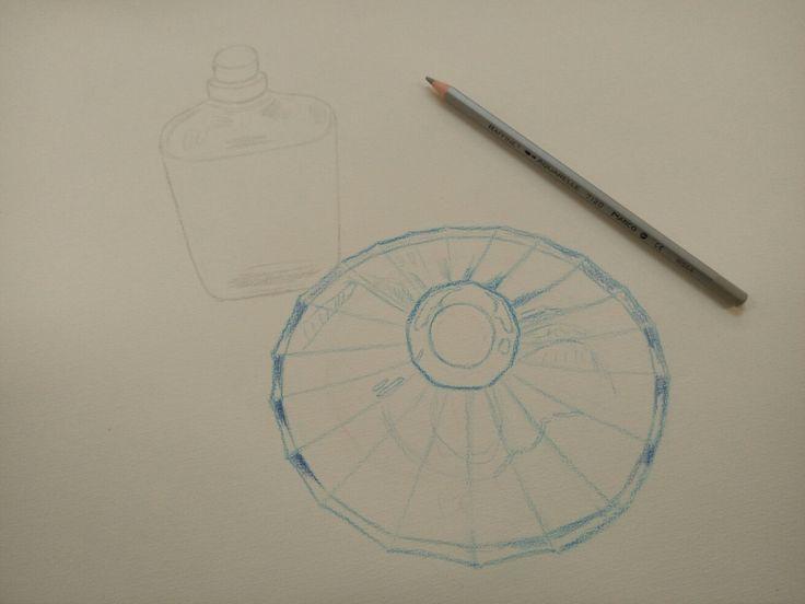 Watercolour drawing: perfume bottles. (process)