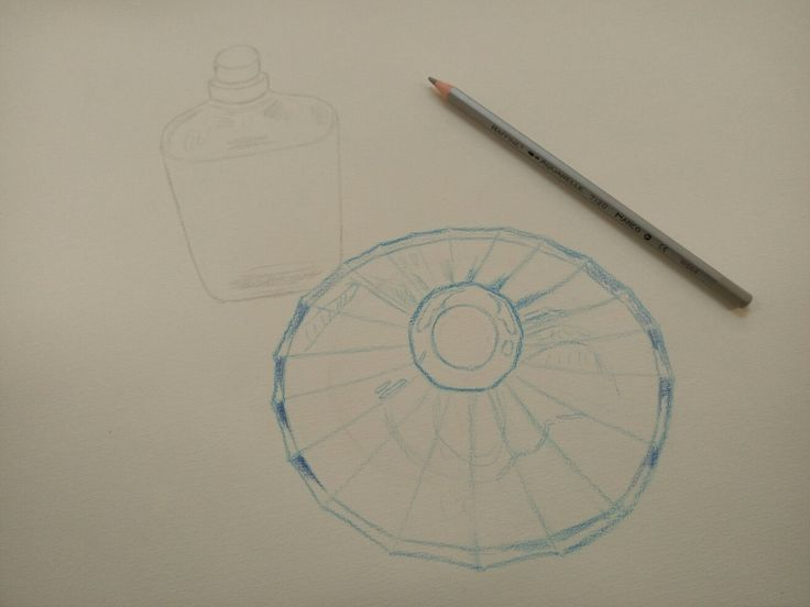 Watercolour drawing: perfume bottles. (process)