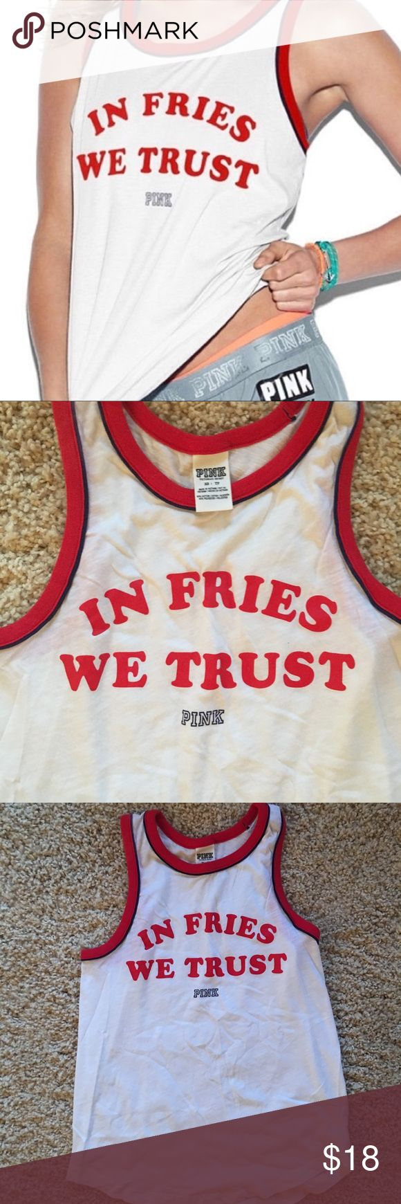 """🇺🇸 Victoria's Secret """"In Fries We Trust"""" Tank Size XS but fits loose, patriotic tank from VS ❤️💙 PINK Victoria's Secret Tops Tank Tops"""
