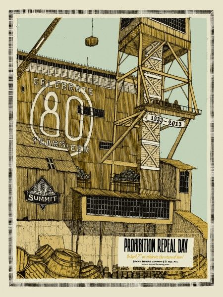 Summit Brewing's Repeal of Prohibition poster, designed by Dan Black of Landland.