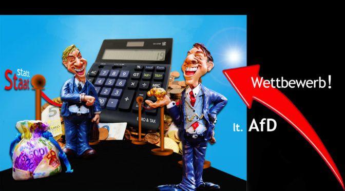 Das AfD-Programm aufgedröselt. Hier Knackpunkt 2: Der Wettbewerb soll's richten. Dazu eine Collage/Karrikatur zweier erfolgsfixierter Unternehmertypen, - urheberrechtlich geschützt