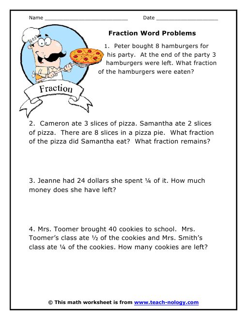 1000+ ideas about Fraction Word Problems on Pinterest | Teaching ...