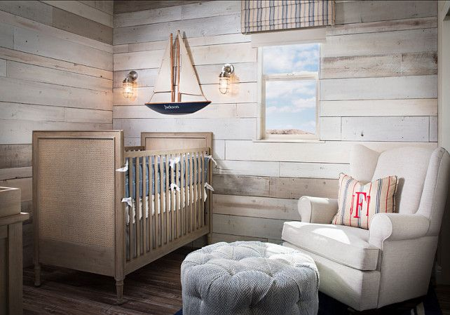 wood planks for wall treatment - Coastal Nursery Ideas