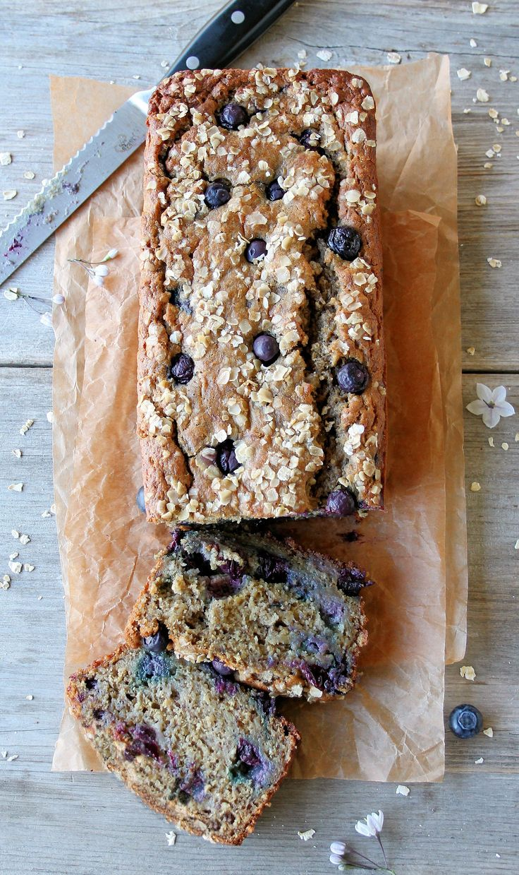 Moist & Delicious Blueberry Yogurt Banana Bread ~ protein-rich, 100% whole grain & gluten-free