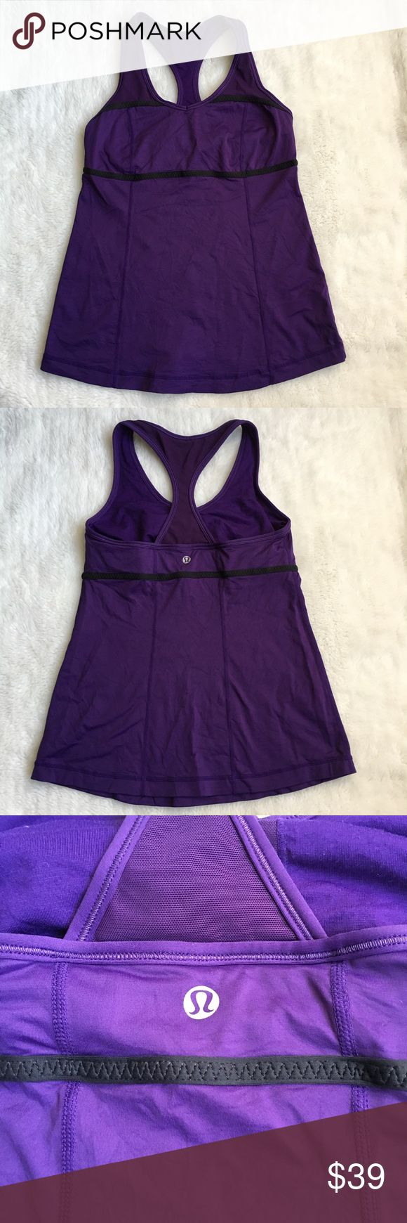Lululemon Purple and Black Top size 6 Preowned barely worn Lululemon Purple and Black Top size 6. Builtin bra, no pads. Please look at pictures for better reference. Happy shopping!!T1 lululemon athletica Tops Tank Tops