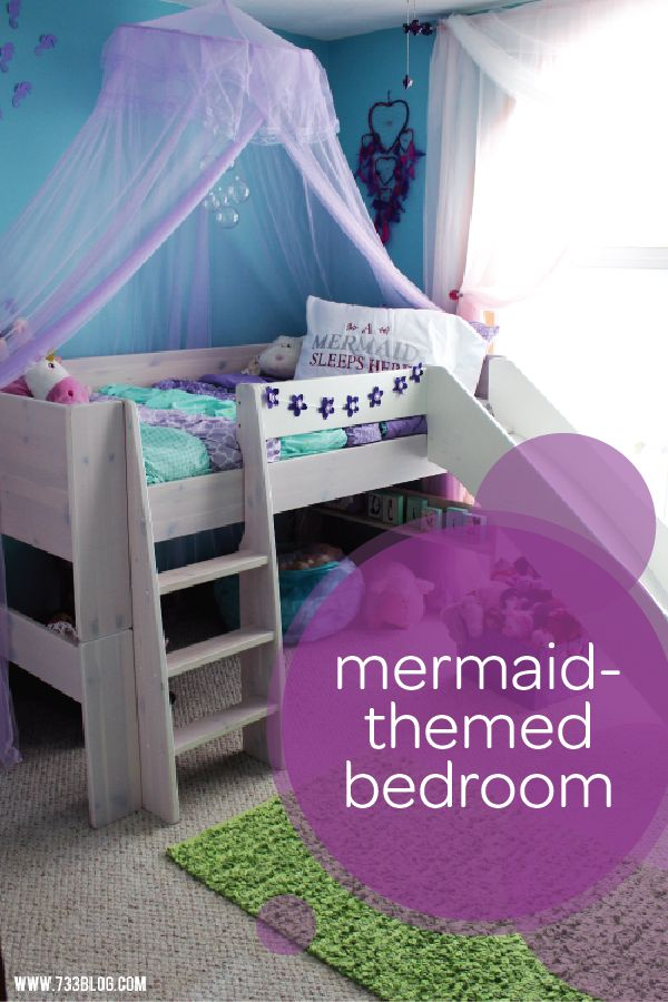 This DIY mermaid-themed bedroom is every little girl's dream come true. A purple netting canopy and easy bubble chandelier, made out of fishing line and clear plastic ornaments, will make your toddler feel like she's truly underwater. Check out the rest of this room for even more design inspiration, like a handmade seashell mirror and a selection of free gallery wall prints.