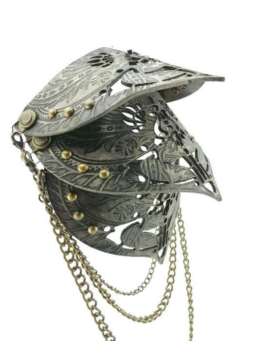 Epaulettes in Black and Silver and Gold with Studs Shoulder Armor Epaulettes Mad Max Costume Metal Guard..