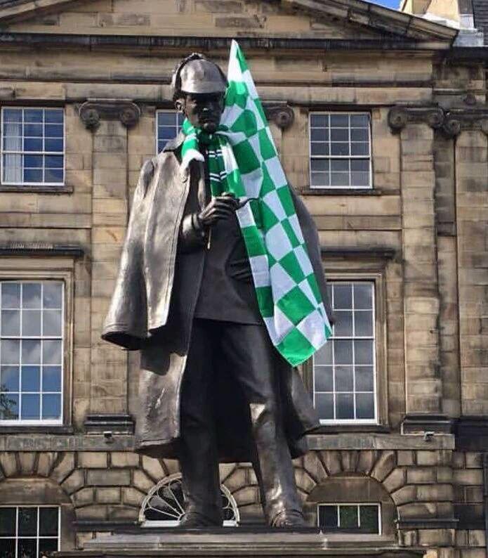 Sherlock Holmes celebrating hibs winning the Scottish cup 21/05/2016