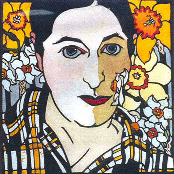 Self Portrait with Daffodils by Kit Hiller - printmaker - Tasmanian artist