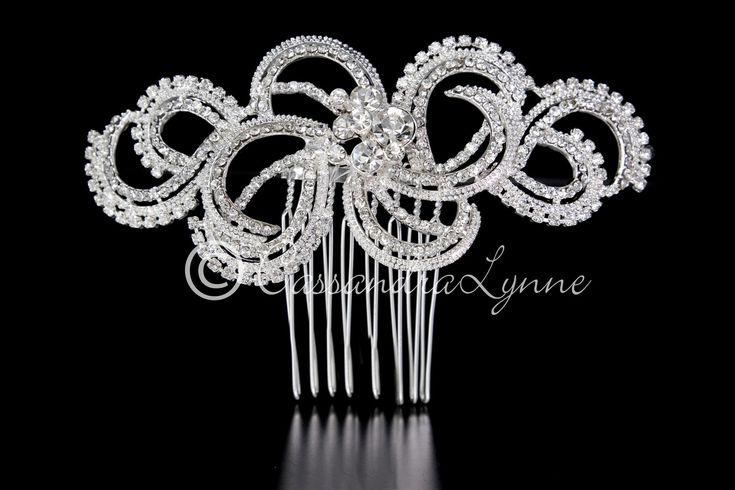 Wedding Hair Comb of Modern Rhinestone Swirls