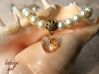 Bransoletka Perłowa z Sercem Swarovski #Swarovski #jewelry #bizuteria