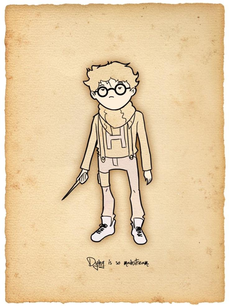 Hipster Harry. 'Dying is so mainstream.': Books, Mainstream, Harry Potter Illustrations, Hogwarts Hipster, Character Design, Geekgamerharri Potter, Hipster Harry, The, Hipster Potter
