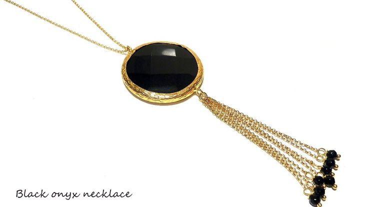 Long black onyx necklace!!